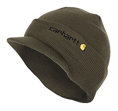 Carhartt Winter Hat with Visor - Green CHA164ARG Mens Beanie with peak Hat  CHA164ARG-Universal  Amazon.co.uk  Clothing 39c4ff92ec8