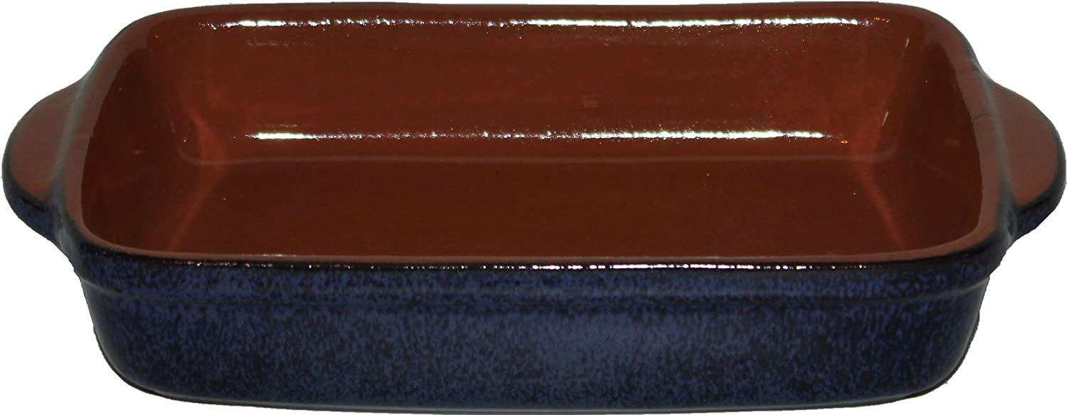 Amazing Cookware Medium Terracotta Rectangular Deep Dish - 'Reactive Blue' KitchenCenter REB110