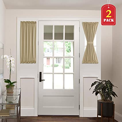 H VERSAILTEX Blackout Draperies Curtains For French Door Thermal Insulated Blackout Half Window Patio Door Curtains 2 Panels 25W By 40L Inches