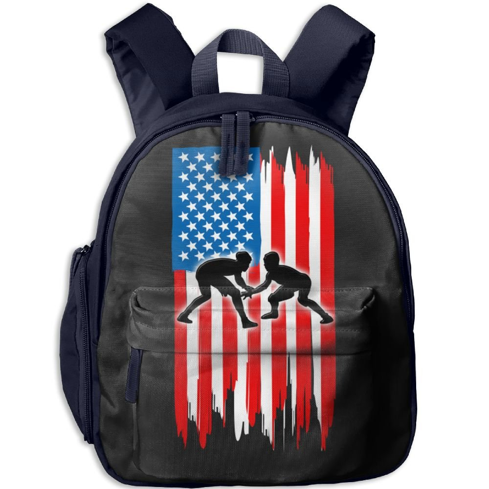 American Flag Wrestling Double Waterproof Children Schoolbag With Front Pockets For Teens Boy Girls