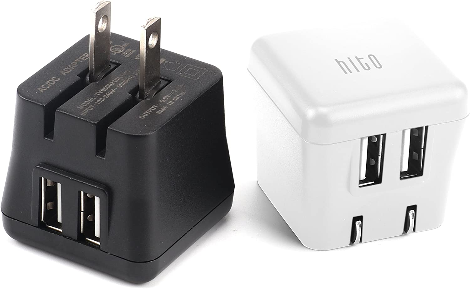 hito 2-Pack 12W 2.4A Dual Port Foldable Plug USB Travel Wall Chargers for iPhone Xs/XS MAX/XR/X/ 8/7/ 7 Plus/ 6s/ 6s Plus, iPad Pro/ Air2/ Mini 3/ Mini 4, Samsung, Kindle and More (1x black+ 1x white)