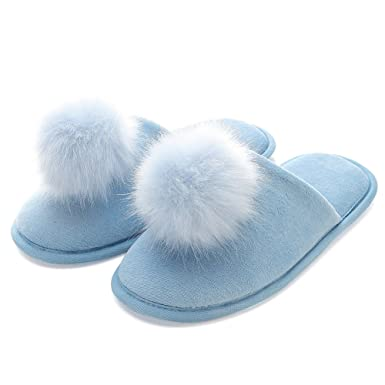 63ca6c244a3 Womens Pompoms Plush Warm Slippers Indoor House Home Furry Slippers Blue US  5-6