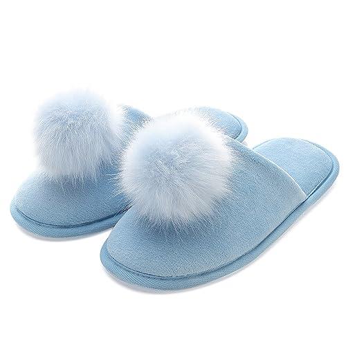 Zapatillas de Casa de Mujer Invierno - Zapatillas Casa Ultraligero Cómodo y Antideslizante, Zapatilla de Estar con Pompon por Casa para Mujer Fluff ...