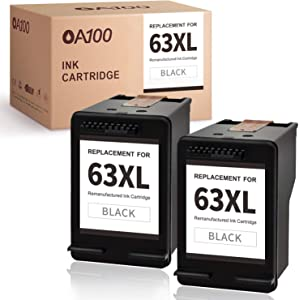 OA100 Remanufactured Ink Cartridge Replacement for HP 63XL 63 XL for HP Envy 4520 4512 OfficeJet 5255 3830 5258 4650 5252 4652 4516 DeskJet 1112 3630 3631 3632 2132 Printer (2 Black)
