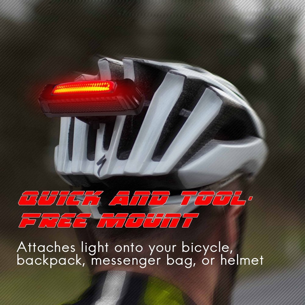Fits on Any Road Bikes Sahara Sailor Rear Bike Light USB Rechargeable Bicycle Tail Light Helmets or Backpacks 5 Light Modes