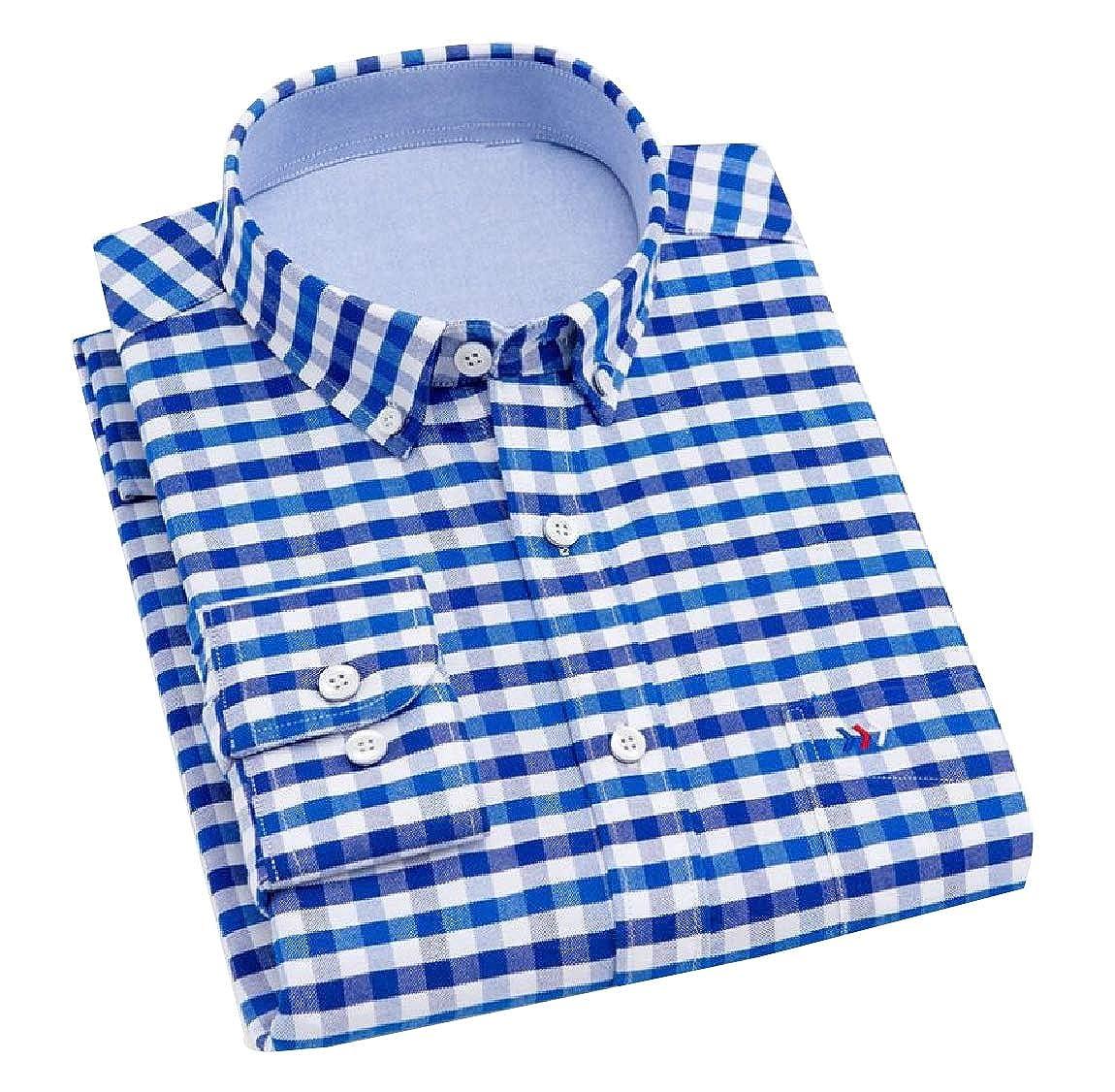 YUNY Mens Long-Sleeve Plaid Cozy Formal Classic Oxford Poplin Shirt 14 XL