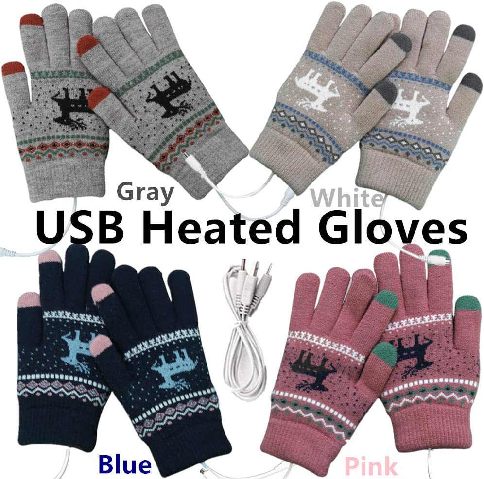 YMHML USB 2.0 Powered Stripes Heating Pattern Knitting Wool Heated Gloves Full Hand Warmers Non-Slip Touch Screen Gloves Laptop Computer 4 Pack Warm Gloves for Women Men (Gray+White+Blue+Pink)