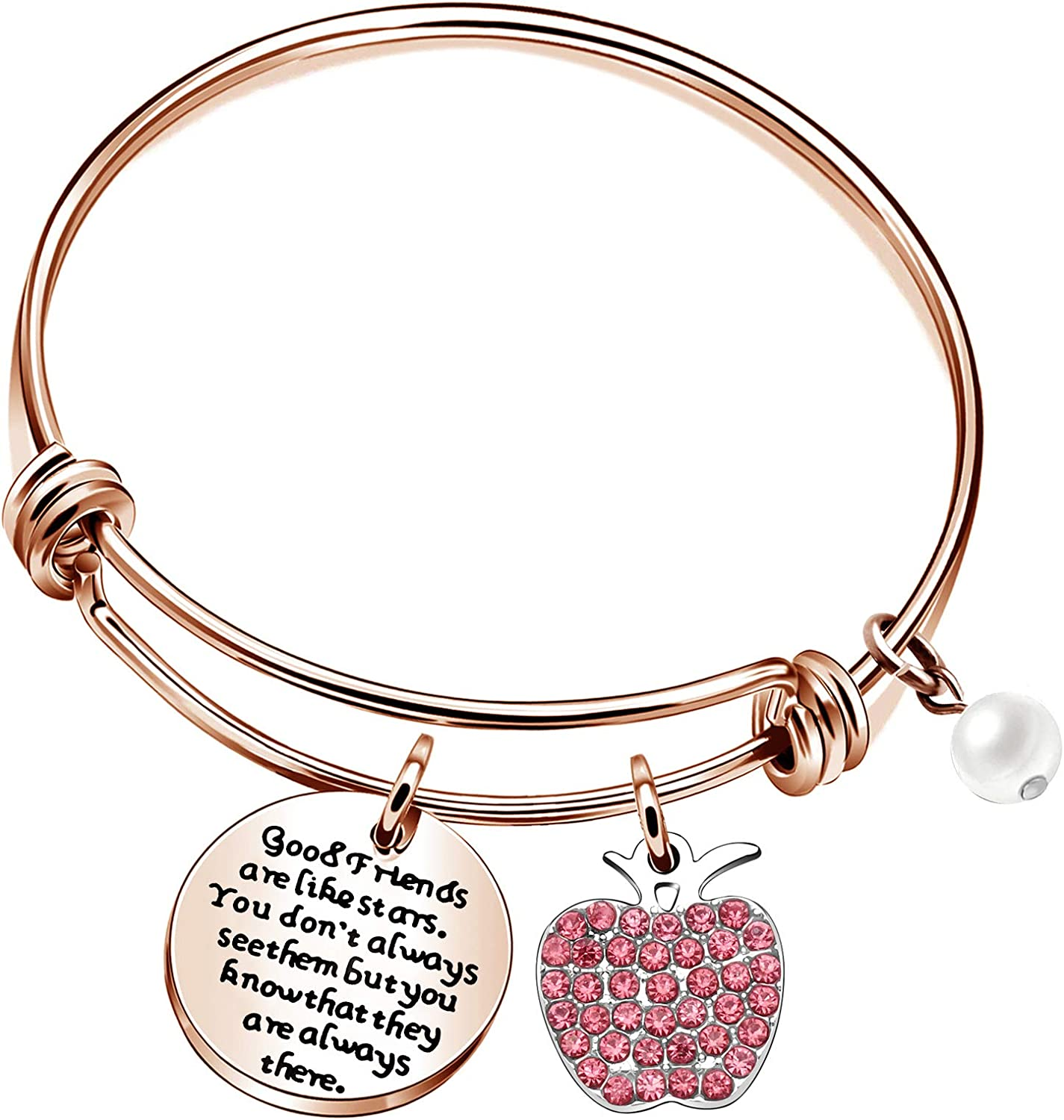 CAROMAY Womens Bangle Adjustable Bracelets Birthday Graduation Inspiration Thanksgiving Gift for Girl Friends Sisters