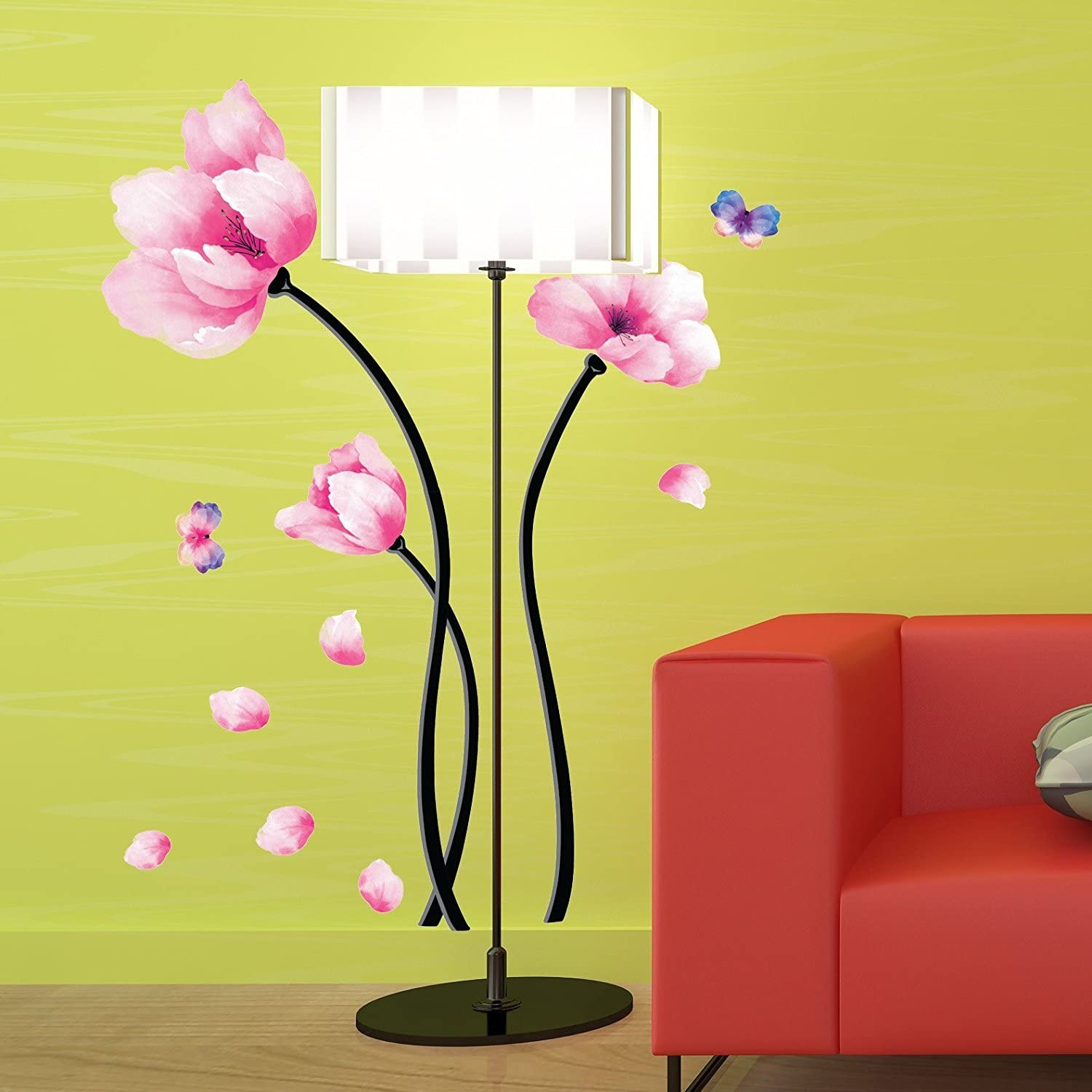 Isolated On Black Purple Petals Large Wall Decoration #69PP Sticky Wall Art Removable Material Waterlilly Self-Adhesive Poster