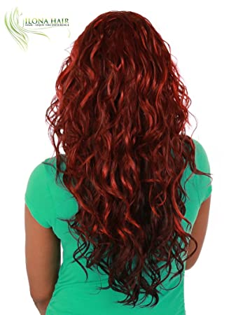 Amazon.com : Lace Front Long Wig For Women Curly Texture Hair red black brown blonde mix LAYMA hair wig peluca larga (DX1189) : Beauty