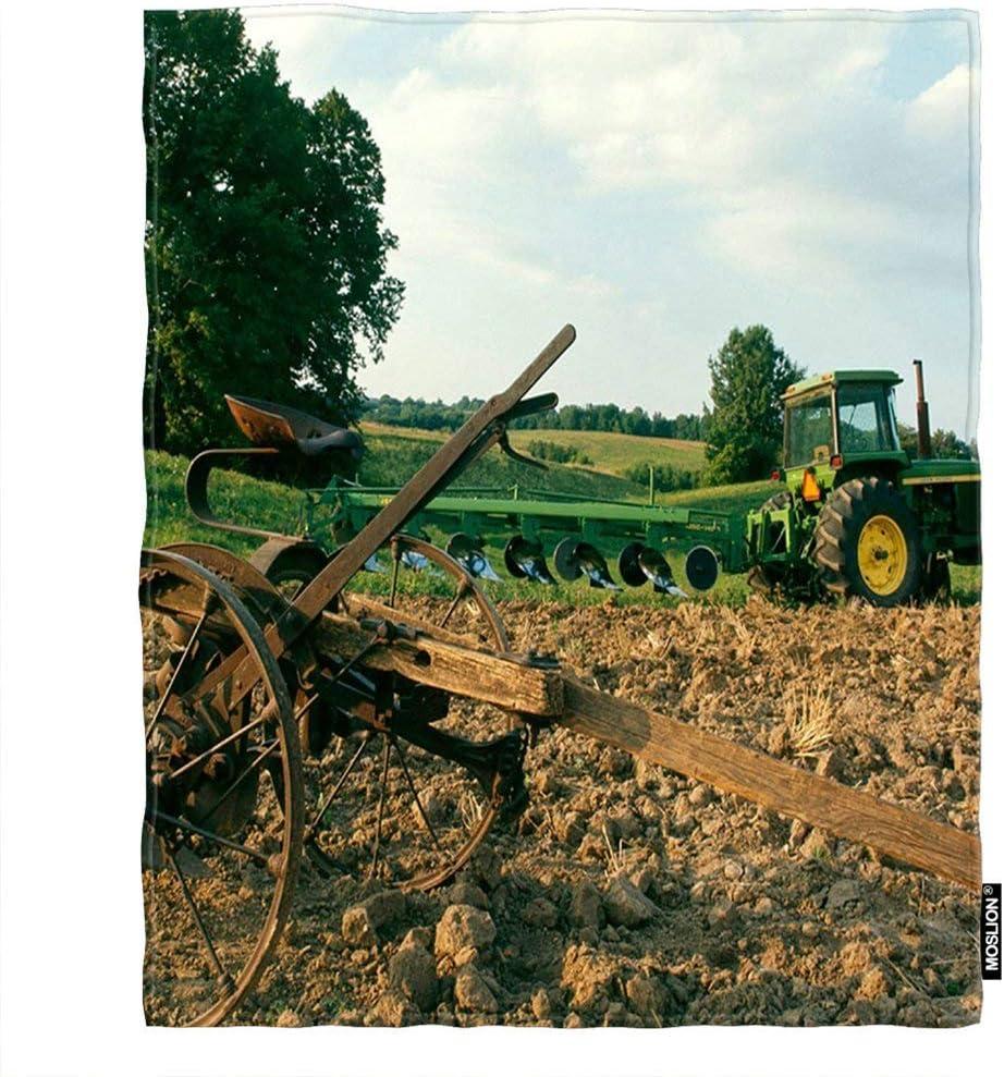 Throw Blanket Green Farm Tractor