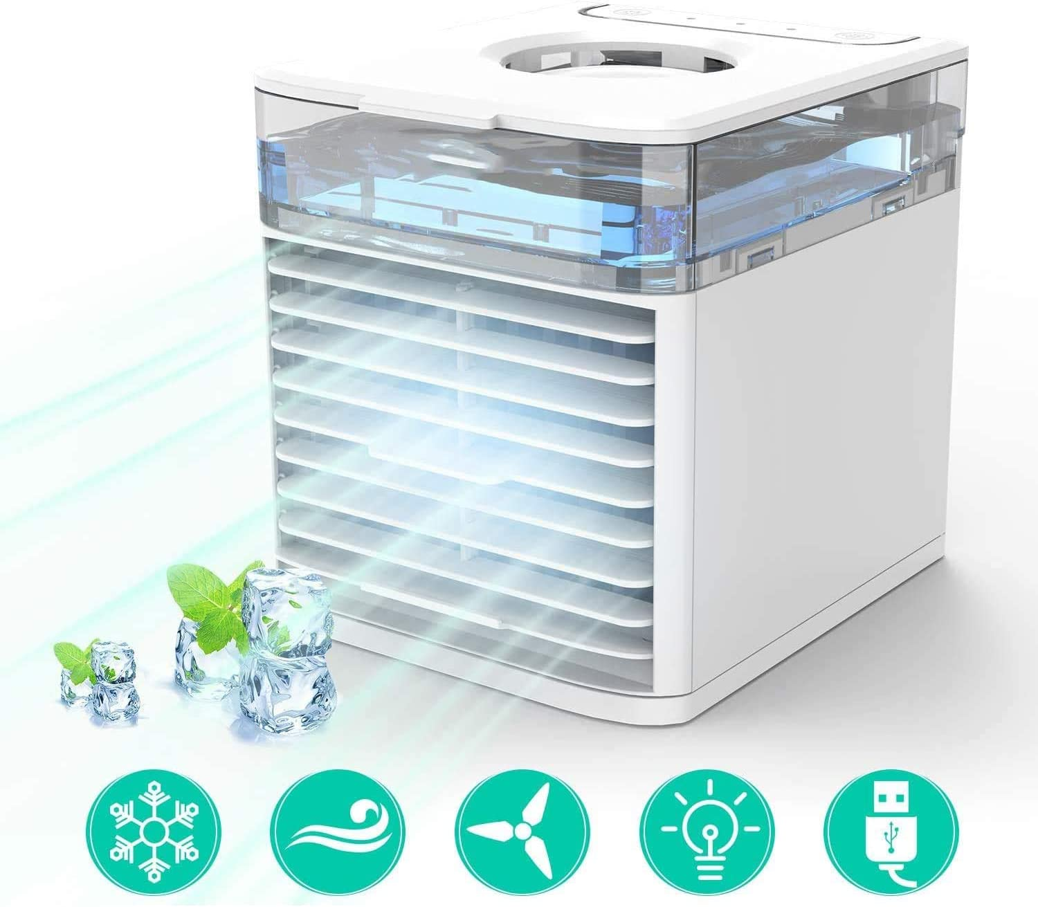 PBQWER Portable Air Conditioner Air Cooler, Desk Cooling Fan, Air Conditioning Unit for Home Office, Timer 3 Speed Fan