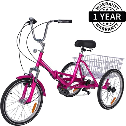 Foldable Tricycle Adult 26/'/' Wheels Adult Tricycle 1-Speed 3 Wheel Pink Bikes