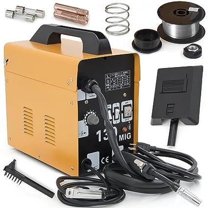 ARKSEN MIG-130 Welding Machine Gas Less Flux Core Wire DIY Home Welder  Automatic Feeding, Yellow
