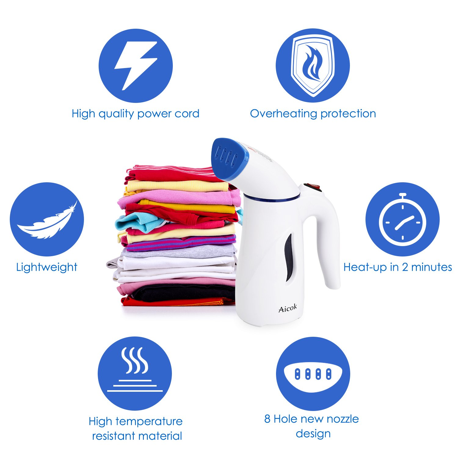 Aicok Clothes Steamer, Mini Travel Garment Steamer, Fabric Steamer, Portable and Fast, with Fabric Brush and Travel Pouch
