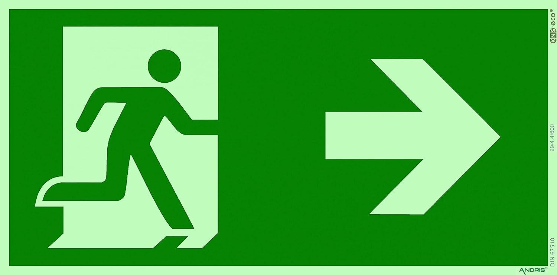 ANDRIS/® Fluchtweg//Notausgang//Rettungsweg Symbol rechts ISO Folie nachleuchtend /& selbstklebend 300x150mm Orig
