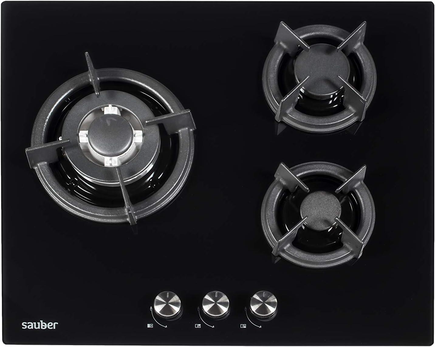 Sauber - Encimera de Cristal Gas SECGB06-3 zonas de cocción - Gas ...
