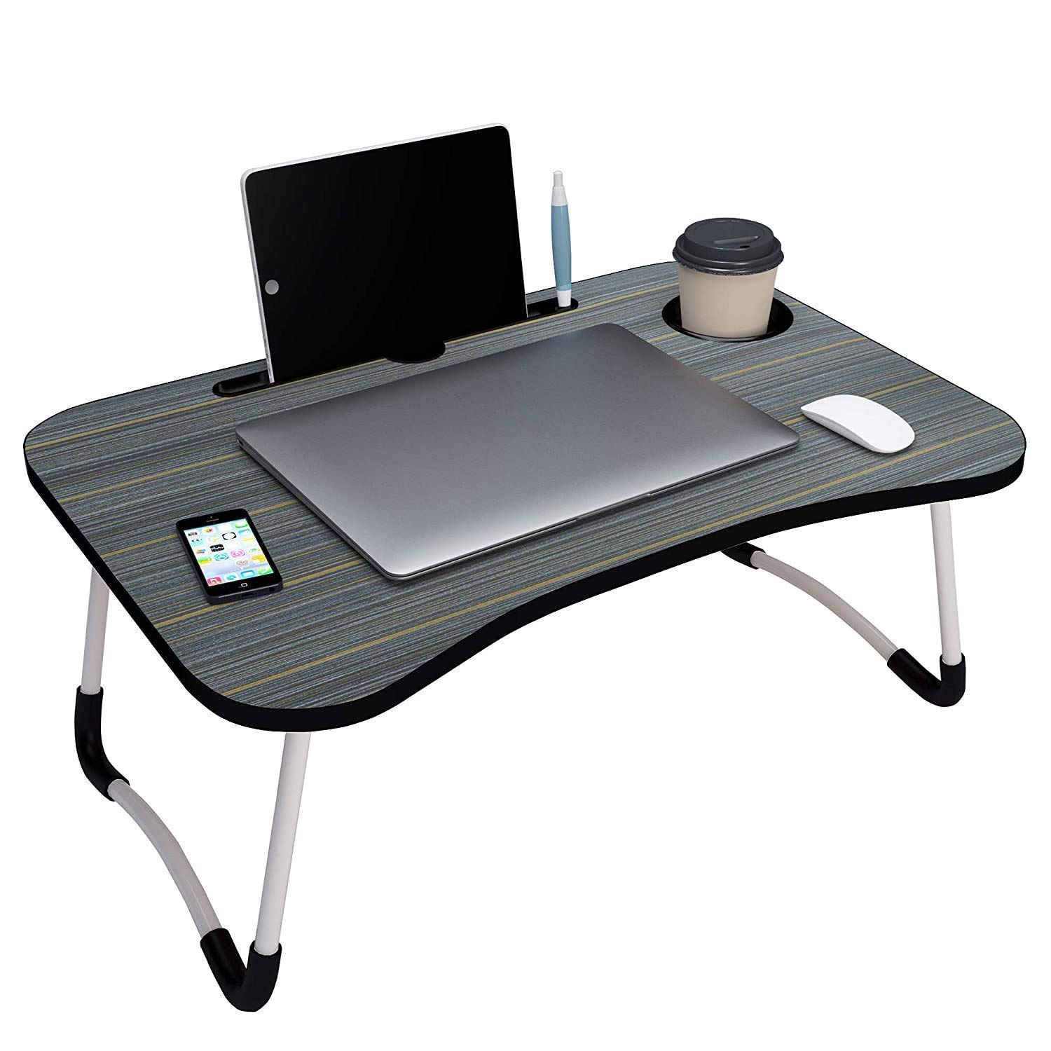 Shayonam Smart Multi-Purpose Laptop Table with Dock Stand & Cup Holder| Foldable| Study Table| Bed Table| Ideal for Work from Home| Kids & Adults (Bla