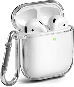 GMYLE AirPods Case Clear, Protective See Through Shockproof Case Cover Skins with Keychain Compatible with Apple AirPod 2 and 1, Clear [Front LED Visible]