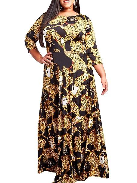 Amazon.com: Season 4 - Maxi vestido de mujer con estampado ...