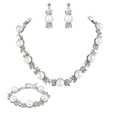 TENYE Crystal Simulated Pearl Bridal Floral Vine Necklace Earrings Set Clear Silver-Tone