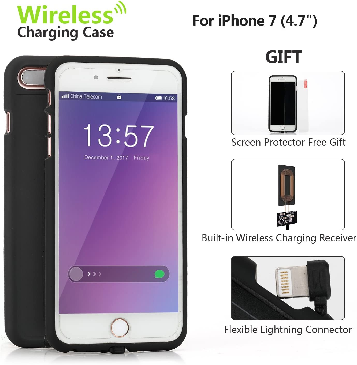 ONine Wireless Charging Receiver Case for iPhone 7, QI Wireless Charger Case Back Cover with Flexible Lightning Connector, QI Charging case with