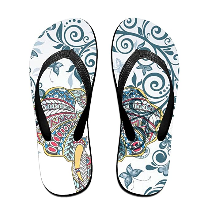 Unisex Non-slip Flip Flops Elephant In Flowers Cool Beach Slippers Sandal