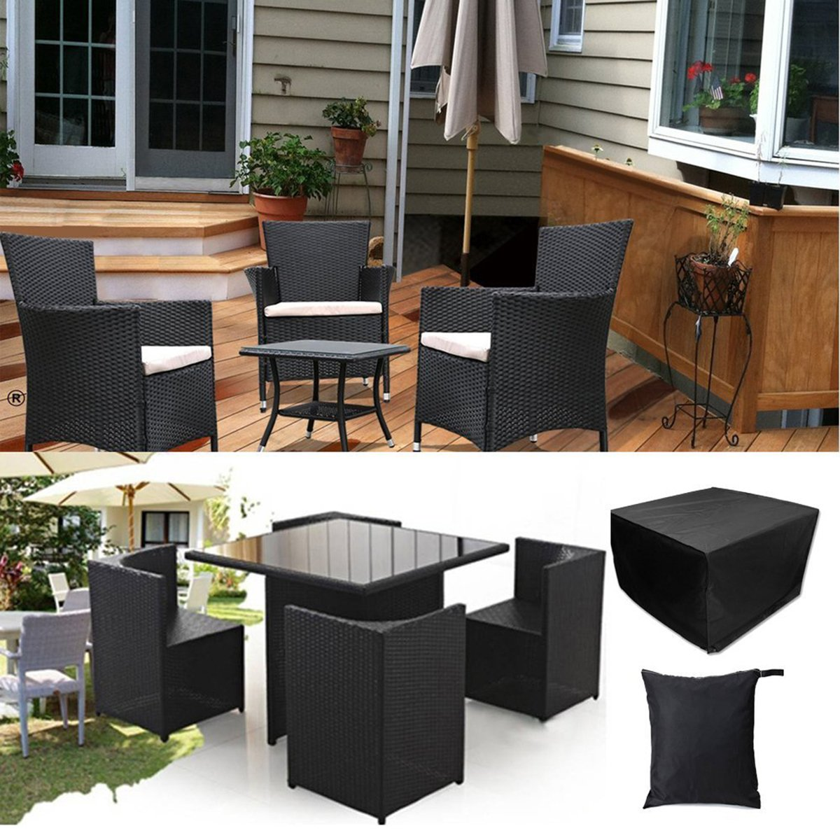 Amazon.com: Fellie Cover Square Patio Table And Chair Set Cover 49 Inch  Waterproof Outdoor Furniture Cover, Durable Patio Table Cover, Black:  Kitchen U0026 ...