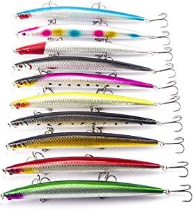 Fecihor 10 Pacs mar pesca señuelos Kits lurehunter 18 cm/pulgada ...