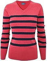 makeitmint Women's V-Neck Stripe Pull Over Knit Sweater Top