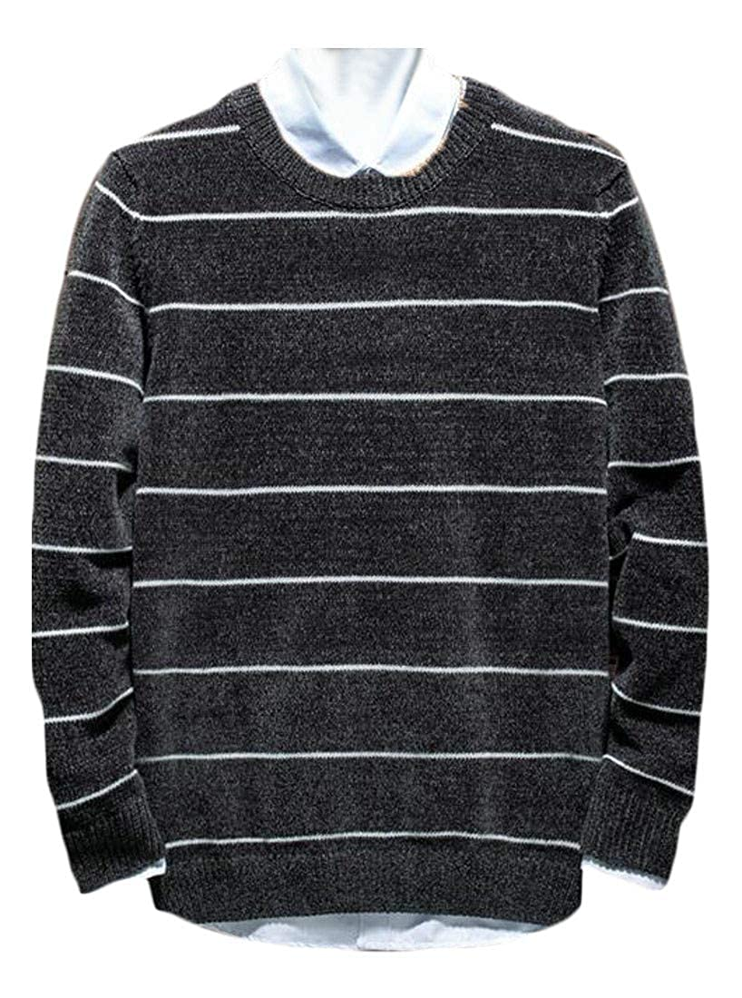 Lutratocro Mens Turtleneck//Crewneck Pullover Jumper Color Block Winter Knitted Sweater