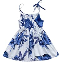 Vincent&July Baby Girls Summer Sleeveless Blue Floral Printing Sling Dress