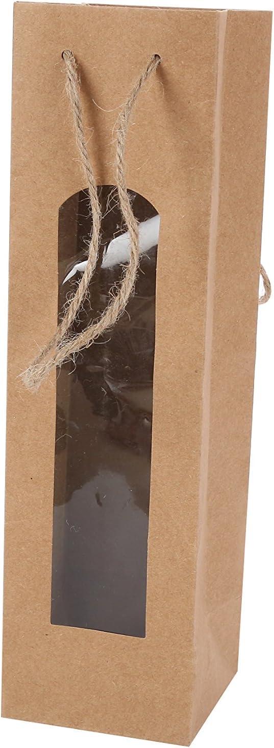 marrone Sacchetti originali da matrimonio per bottiglie di vino. Borsa per bottiglia di vino kraft bella con finestra,/originale