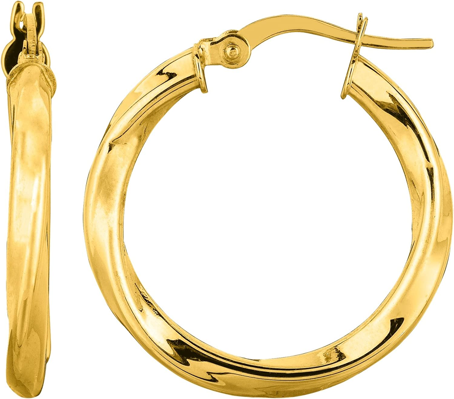20mm 14k Yellow Gold 2mm Thick Round Tube Hoop Earrings High Polished,
