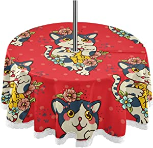 Happy Japanese Cat Maneki Neko Outdoor Tablecloth with Umbrella Hole Zipper Spring Summer Table Cover Machine Wash for Patio Garden Picnic Party Tabletop Decor