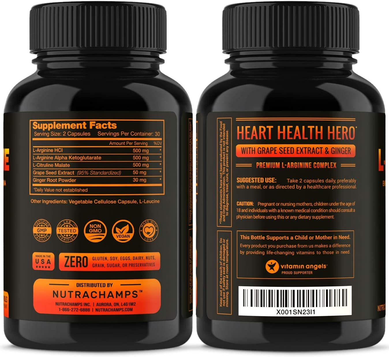Premium L Arginine 1500mg Nitric Oxide Supplement - Extra Strength for Energy, Muscle Growth, Heart Health, Vascularity Stamina - Powerful NO Booster Capsules with L-Arginine L-Citrulline Powder