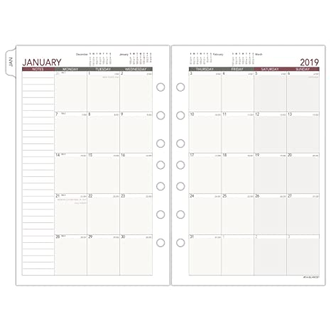 photograph regarding Monthly Planning Calendar identify AT-A-Seem 2019 Regular monthly Planner Refill, Working day Runner, 5-1/2\