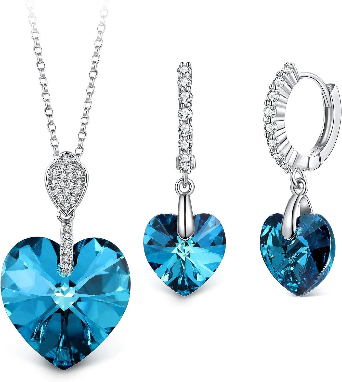 T400 Jewelers Mi Destino Collar con Colgante de corazón y Pendientes de leverback de Cristales Conjuntos de joyería de Moda para Mujer,45+5cm