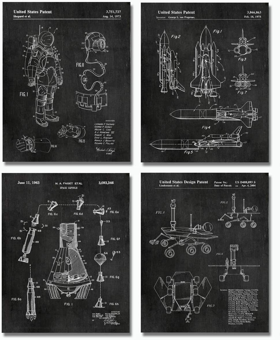 """Space Patent Prints - Set of FOUR 8""""x10"""" Wall Art Decor - Great Gift for Aerospace Lovers Chalkboard"""