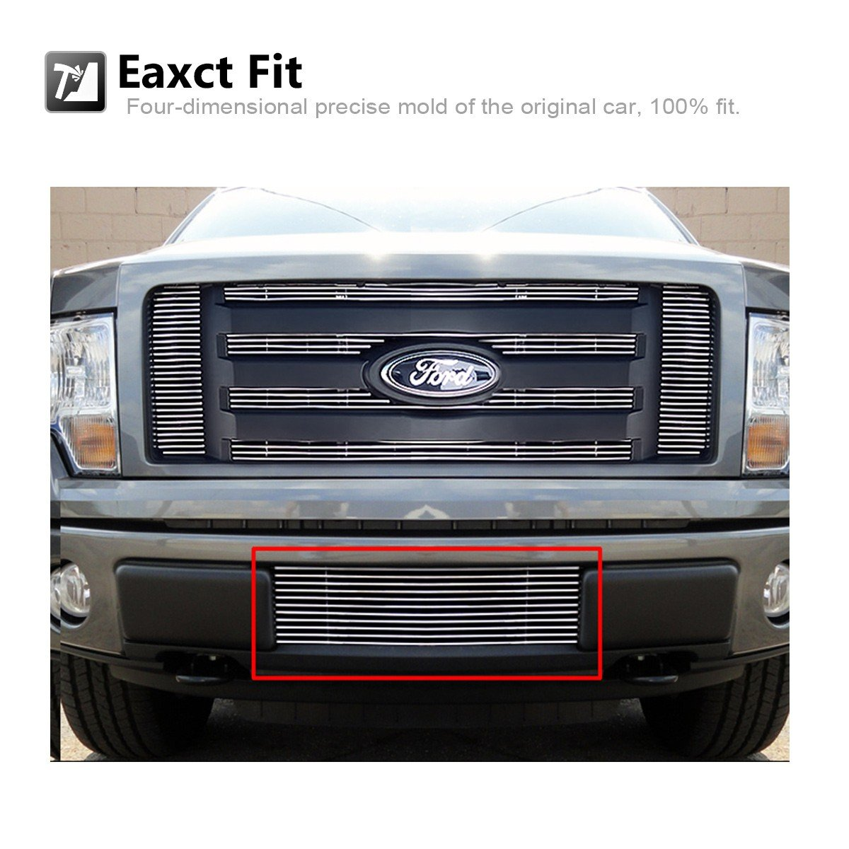 AUTEX F66789A Aluminum Polished Lower Bumper Billet Grille Insert Compatible With Ford F150 Trucks 2009 2010 2011 2012 2013 2014 Grill