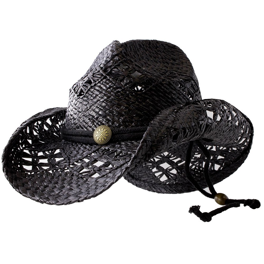 Sonoma - Deadwood Trading | Raffia Straw Cowboy Hats for Men & Women | Hit The Beach in Cowgirl Style | Cute Summer Hat w/Shapeable Brim, Metal Concho & Adjustable Chin Strap (Large - Black) by Deadwood Trading Company