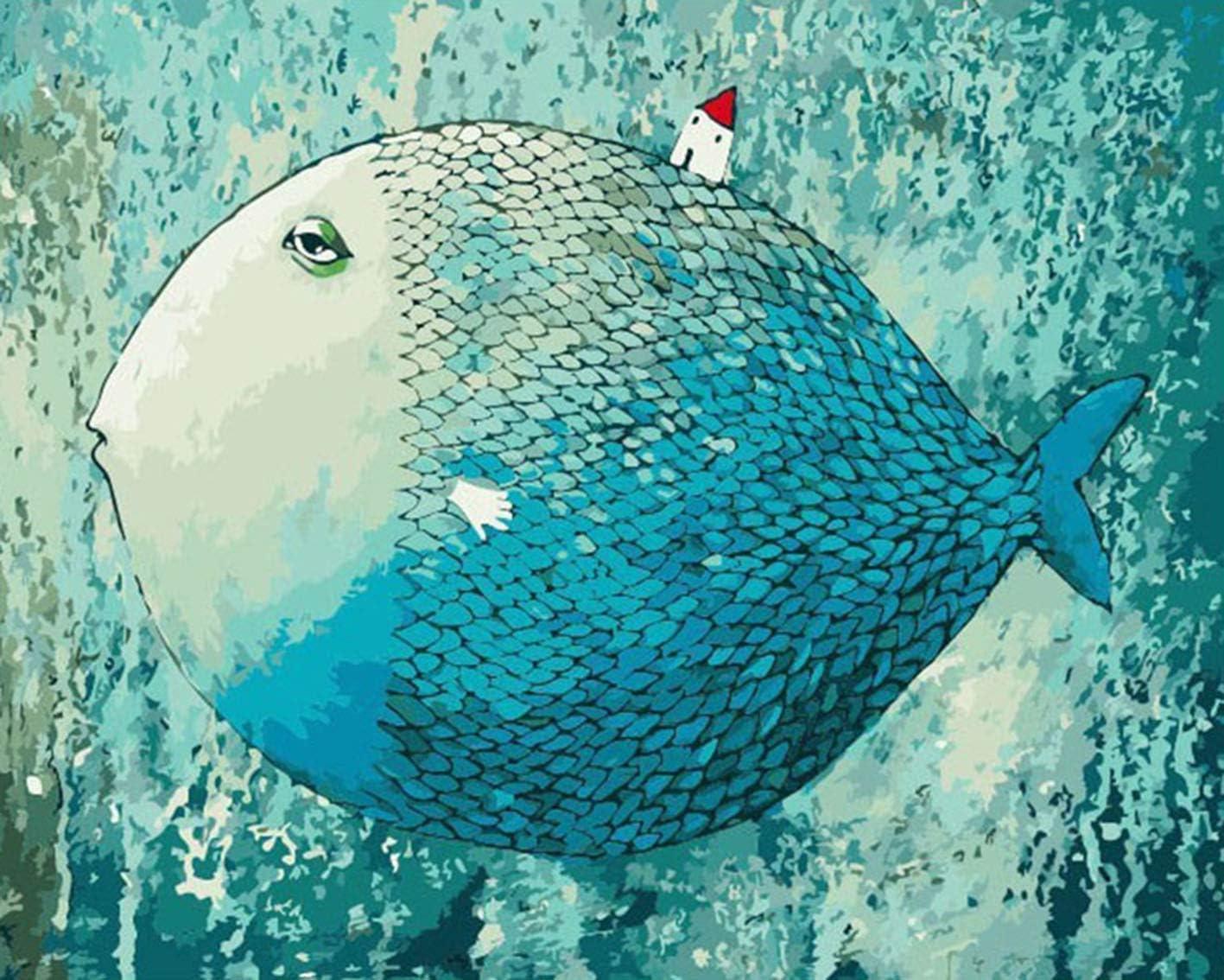 mileelife Dipingere con i Numeri per Bambini Adulti Kit Pittura a Olio Fai da Te Principiante Dormire Il Pesce 40cm/×50 cm