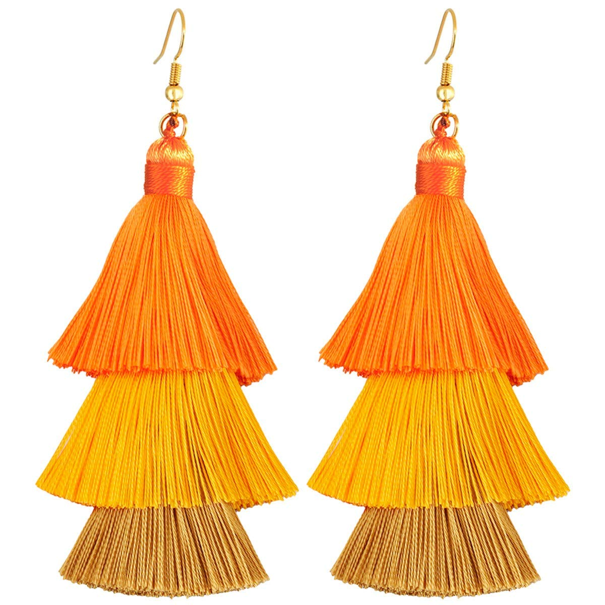 TUMBEELLUWA Colorful Layered Tassel Earrings Hook Tiered Thread Dangle Drop Earrings