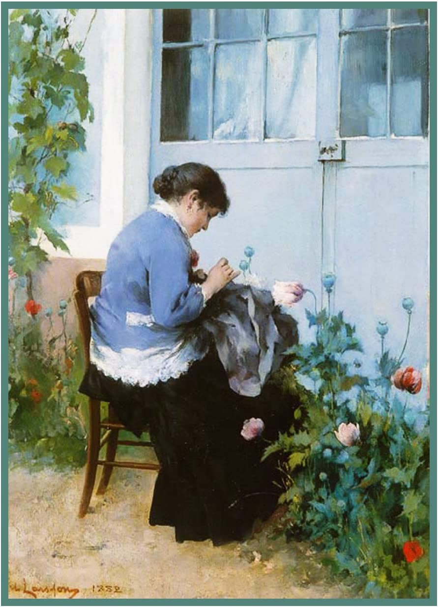Scandinavian Artist Carl Larsson The Garden Window Counted Cross Stitch Pattern