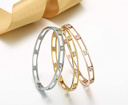 Allen Danmi AD Jewelry Rose Gold Gold White Gold Bangle Bracelet Elegant CZ Stone Stanless Steel Hollow Out for Women Mother s Day