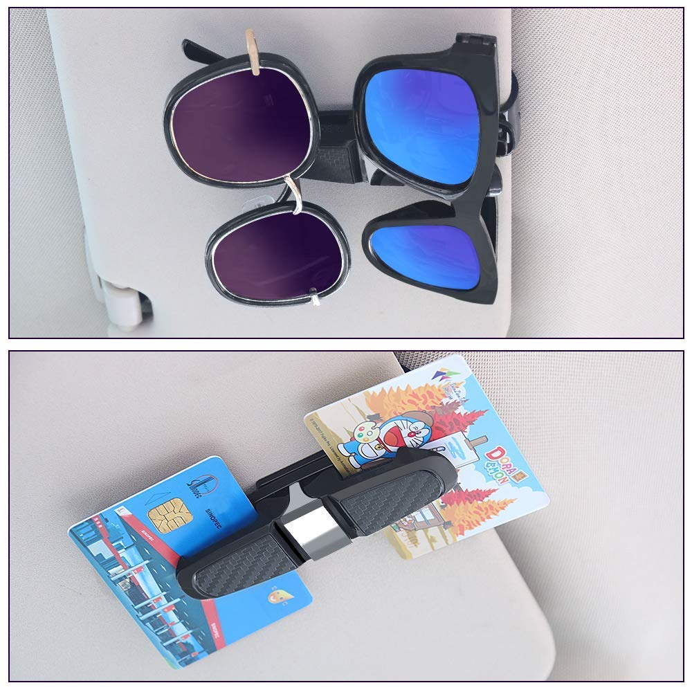2 Pack Glasses Holders for Car Sun Visor Grey Sunglasses Eyeglasses Mount with Ticket Card Clip Double-Ends Clip,180/° Rotational