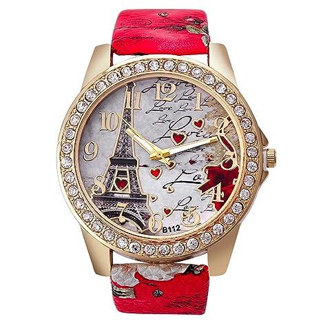Leisial Reloj para Mujer Cuero PU Forma de Corazón Relojes Pulsera Casual Multifunction Reloj Militares Dial