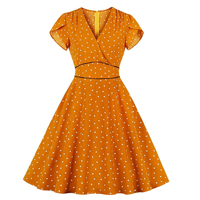 1940s Fashion Advice for Tall Women Wellwits Womens Polka Dots Hearts V Neck Wrap Vintage Dress with Pocket $23.98 AT vintagedancer.com