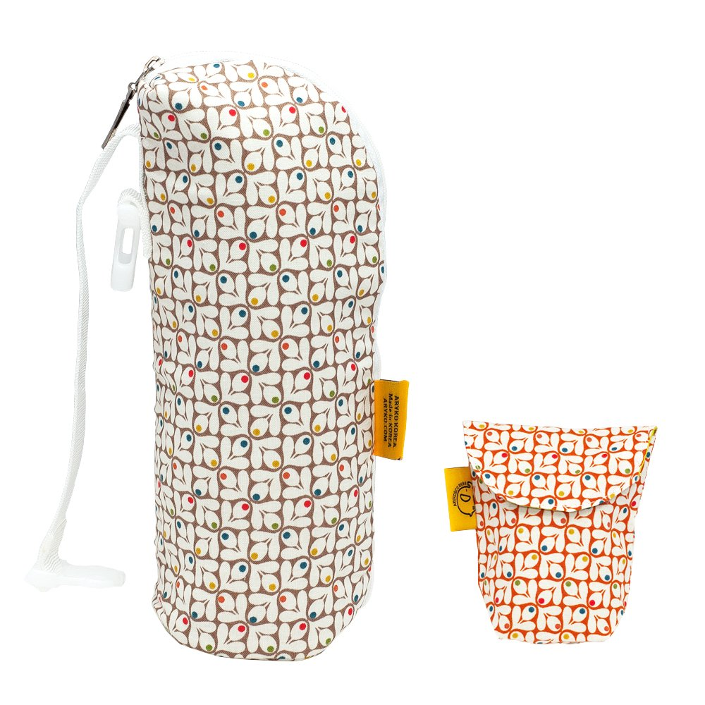 Aryko Baby Bottle Bag Warmer or Cooler Insulated | Travel Carrier Portable Holder Tote Breast milk Storage with Pacifier Orange Dia Leaves Pouch Limited Edition - Dia Leaves