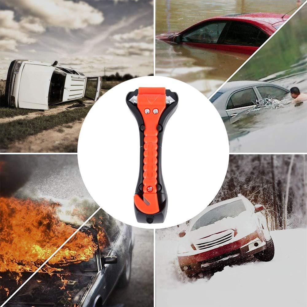 Cortador de cintur/ón de Seguridad Paquete de 4 martillos de Seguridad Antideslizantes para Coche Martillo de Seguridad Escape Ventana Emergencia Herramienta Grande
